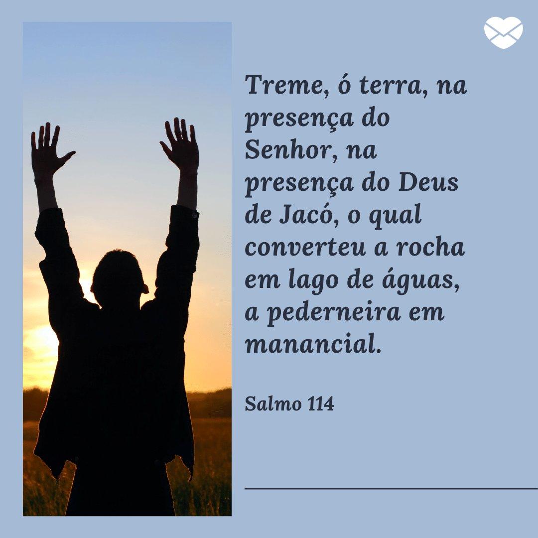 'Treme, ó terra, na presença do Senhor, na presença do Deus de Jacó, o qual converteu a rocha em lago de águas, a pederneira em manancial.' -  Mensagens de salmos