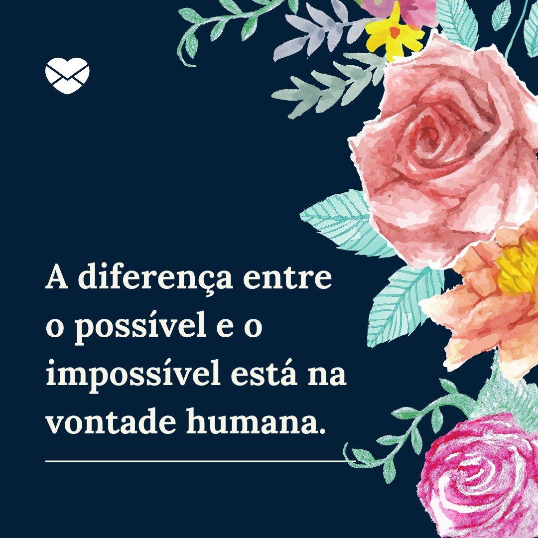'A diferença entre o possível e o impossível está na vontade humana.' - Frases Bonitas