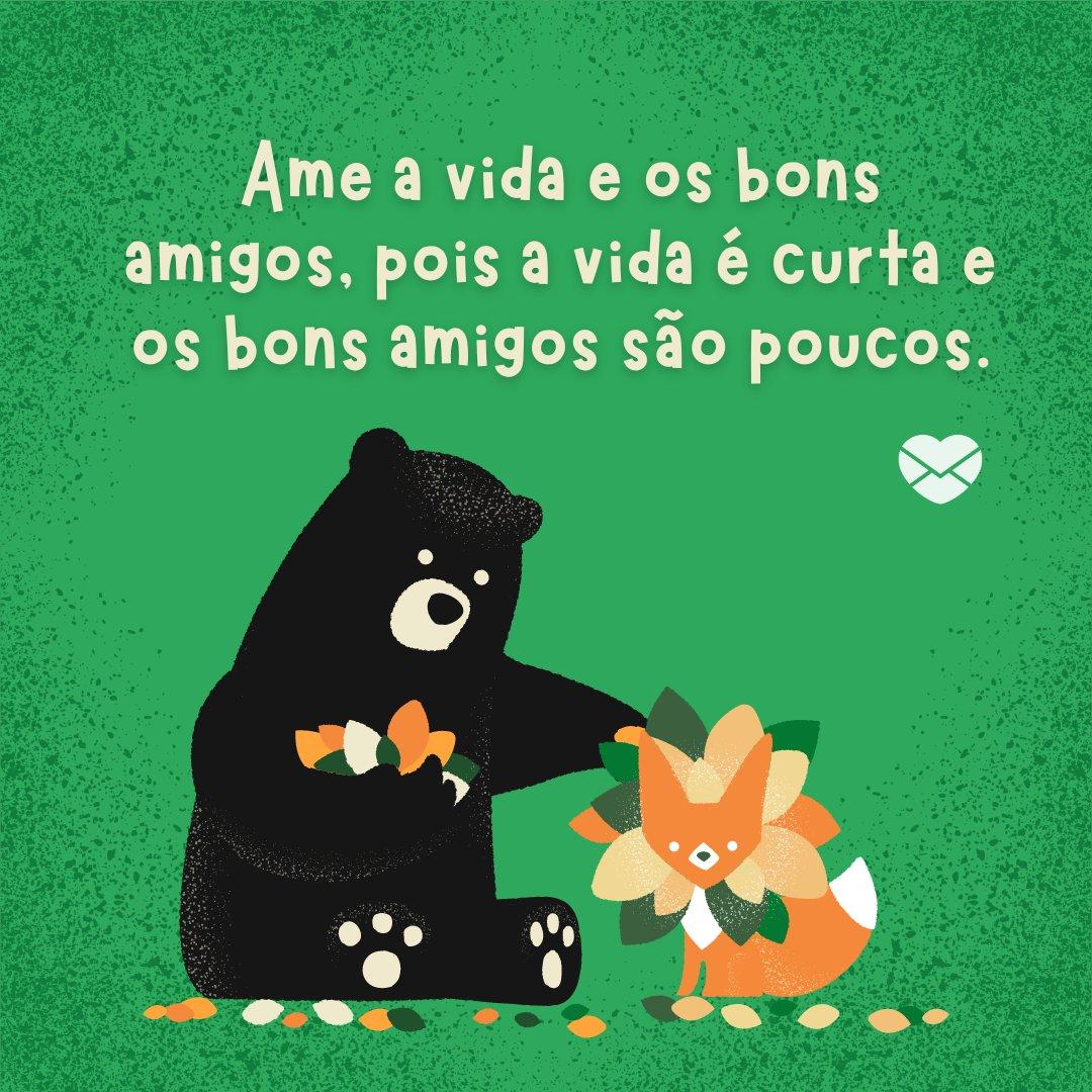 'Ame a vida e os bons amigos, pois a vida é curta e os bons amigos são poucos.' - Frases Bonitas