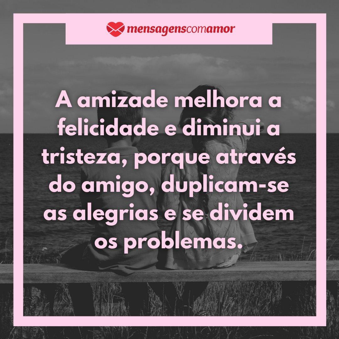 'A amizade melhora a felicidade e diminui a tristeza, porque através do amigo, duplicam-se as alegrias e se dividem os problemas.' - Frases Bonitas