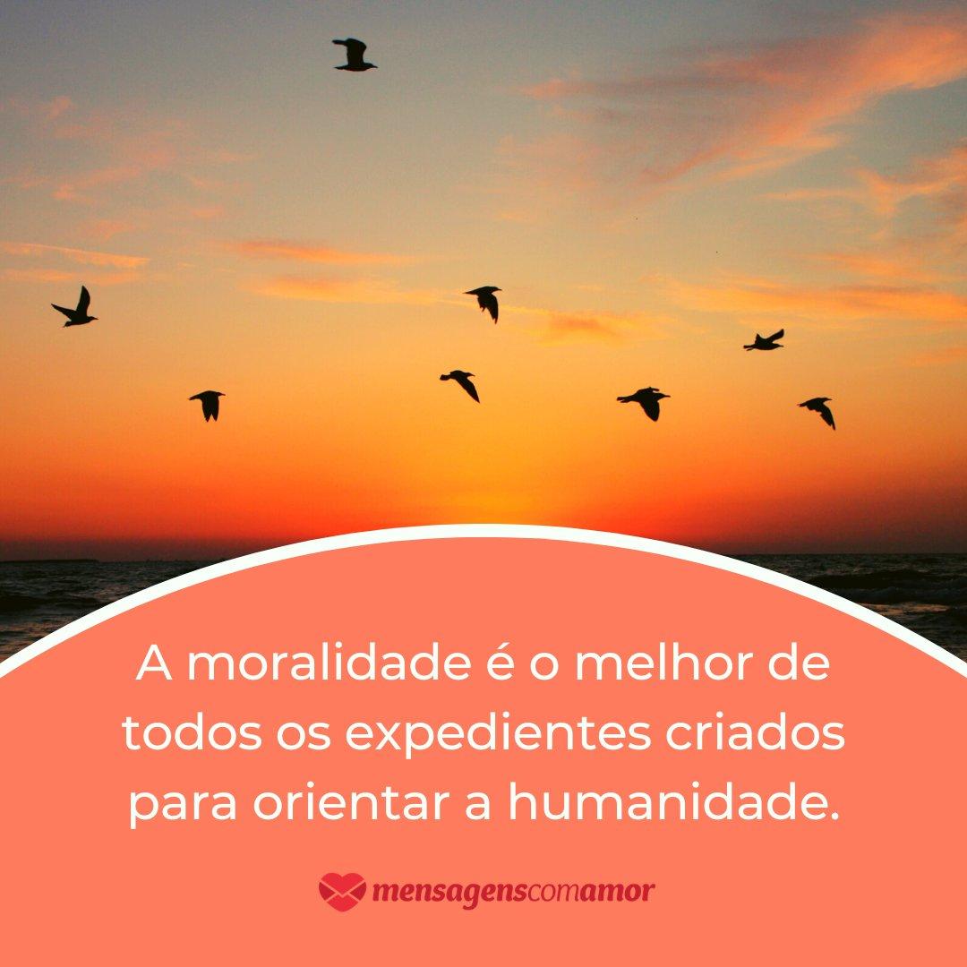 'A moralidade é o melhor de todos os expedientes criados para orientar a humanidade.' - Frases Bonitas