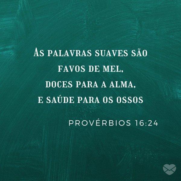 'As palavras suaves são favos de mel, doces para a alma, e saúde para os ossos. Provérbios 16:24' - Frases Bíblicas