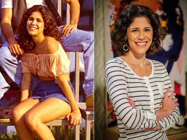 Juliana Martin jovem à esquerda e, à direita, como a atriz está atualmente