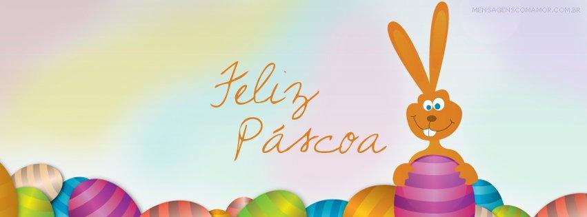 Capa para Facebook com desenho de coelho, ovos e com os dizeres 'Feliz Páscoa' ao lado