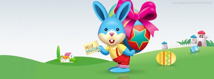 Capa para Facebook com desenho de coelho azul carregando ovo de páscoa nas costas
