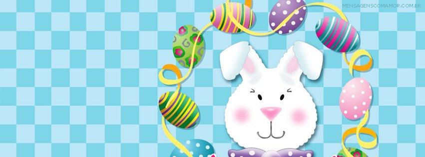 Capa para Facebook com coelho desenhado e guirlanda de ovos de páscoa ao redor