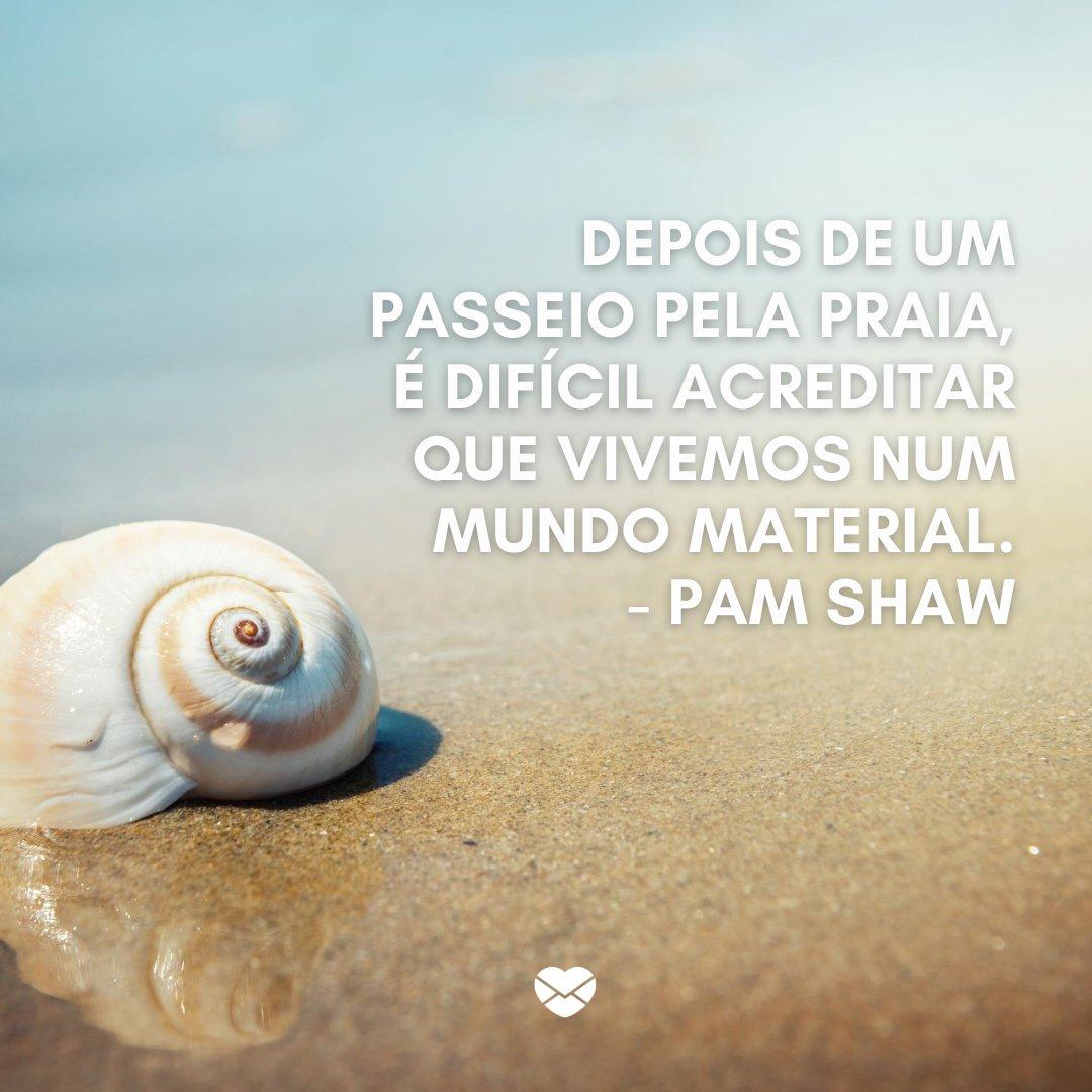 'Depois de um passeio pela praia, é difícil acreditar que vivemos num mundo material. - Pam Shaw' -Frases sobre praia