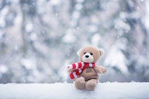 Urso de pelúcia com cachecol sentado na neve