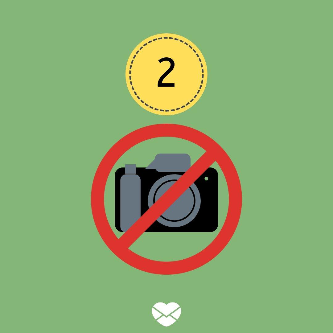 Ilustração com número 2 e símbolo de proibido câmera fotográfica