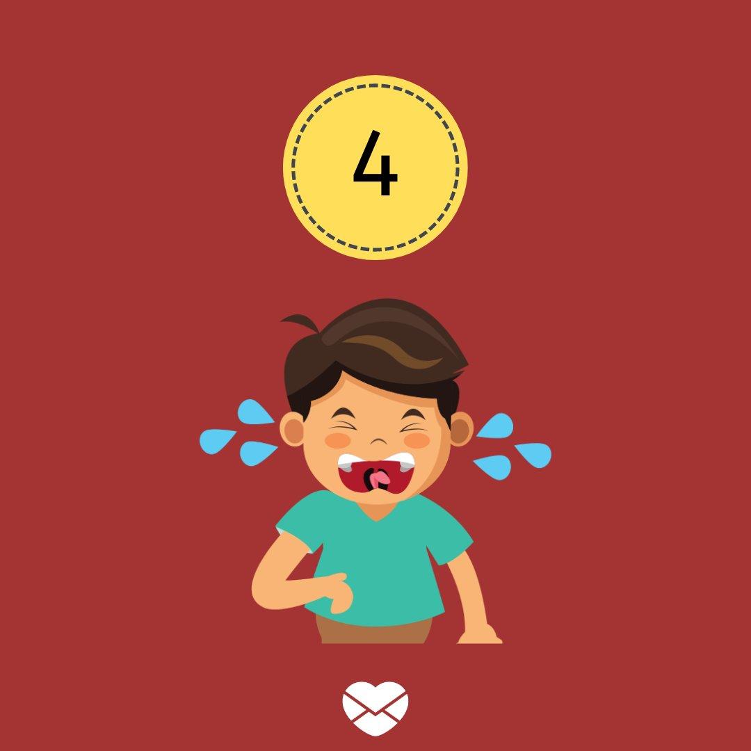Ilustração com número 4 e garoto chorando