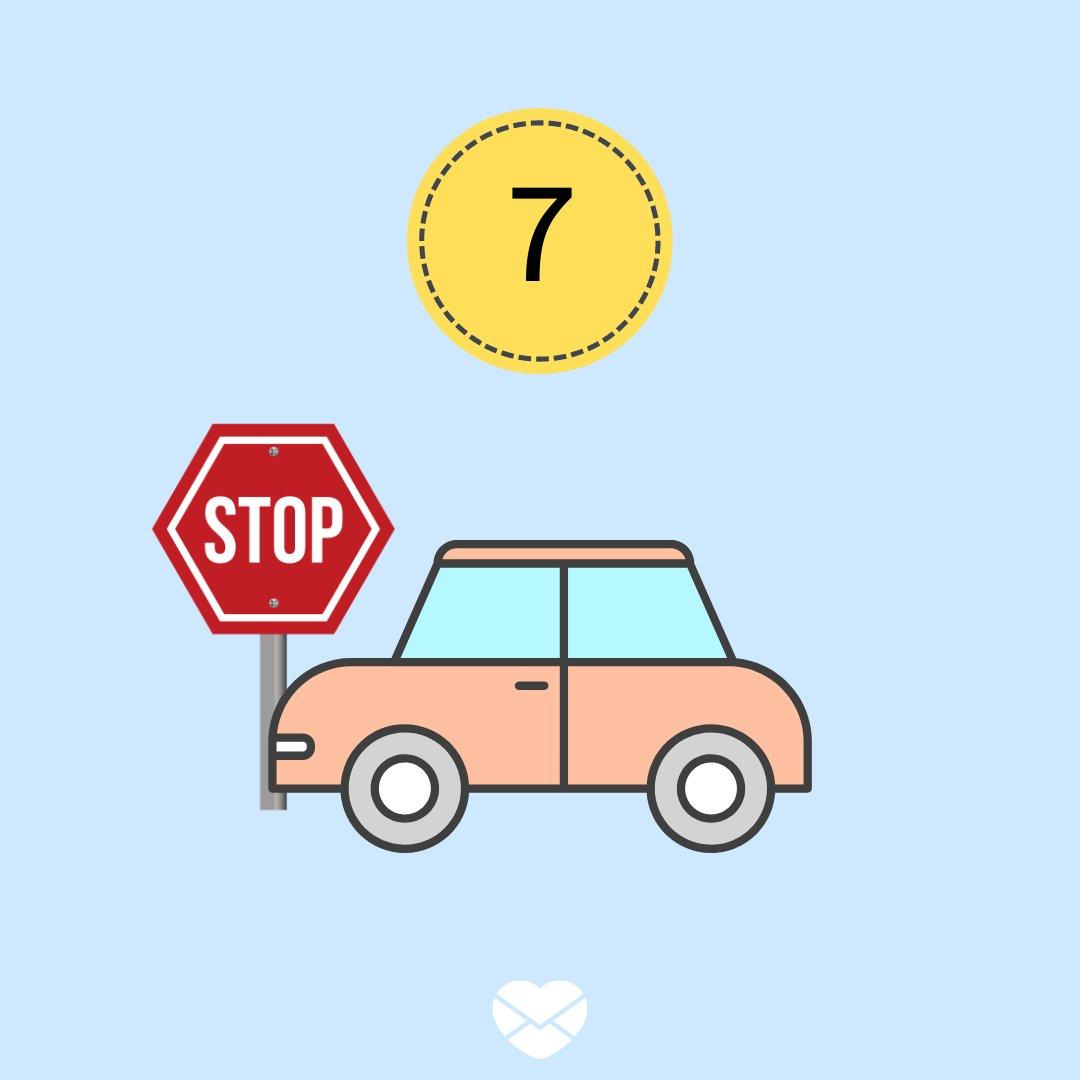 Ilustração com número 7 e carro com placa de STOP