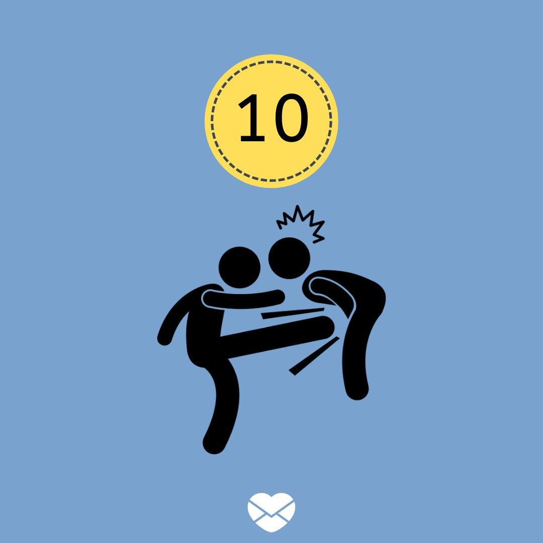 Ilustração com número 10 e desenho de homem chutando o outro