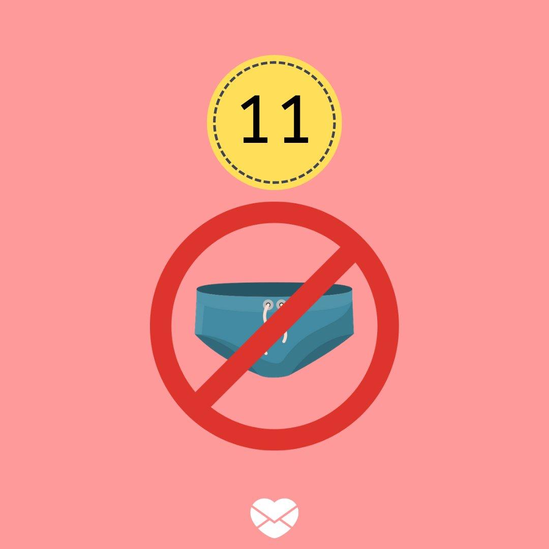 Ilustração com número 11 e símbolo de proibido sunga