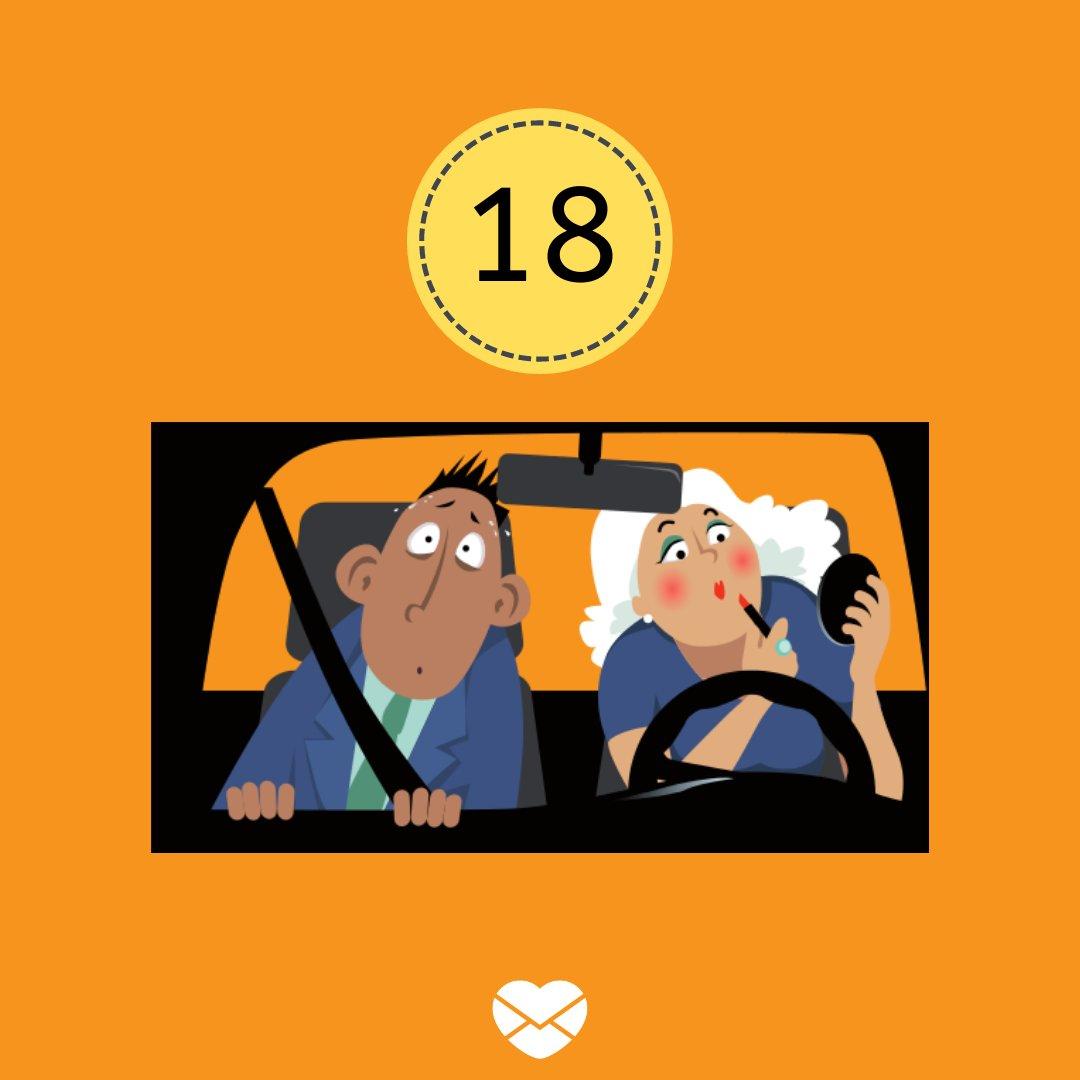 Ilustração com número 18 e casal no carro