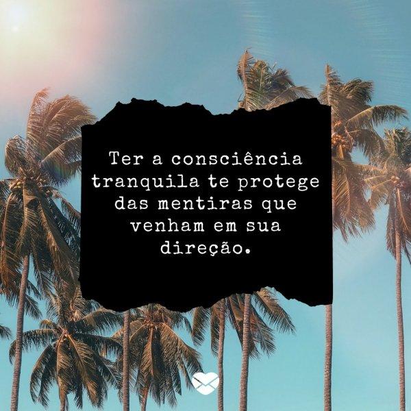 'Ter a consciência tranquila te protege das mentiras que venham em sua direção. ' - Reflexão sobre a mentira