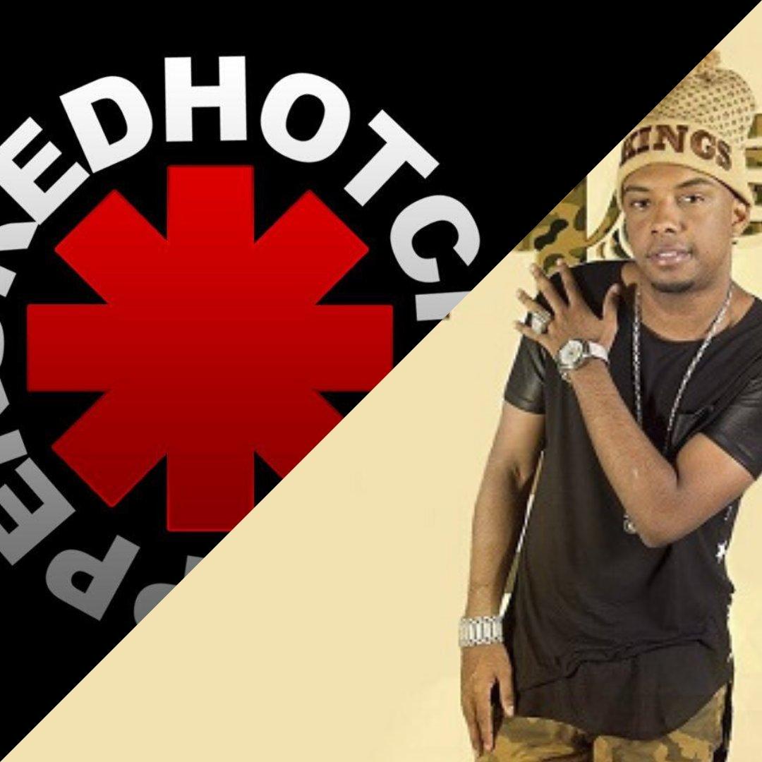 Logo do Red Hot Chilli Peppers ao lado da foto do MC TH