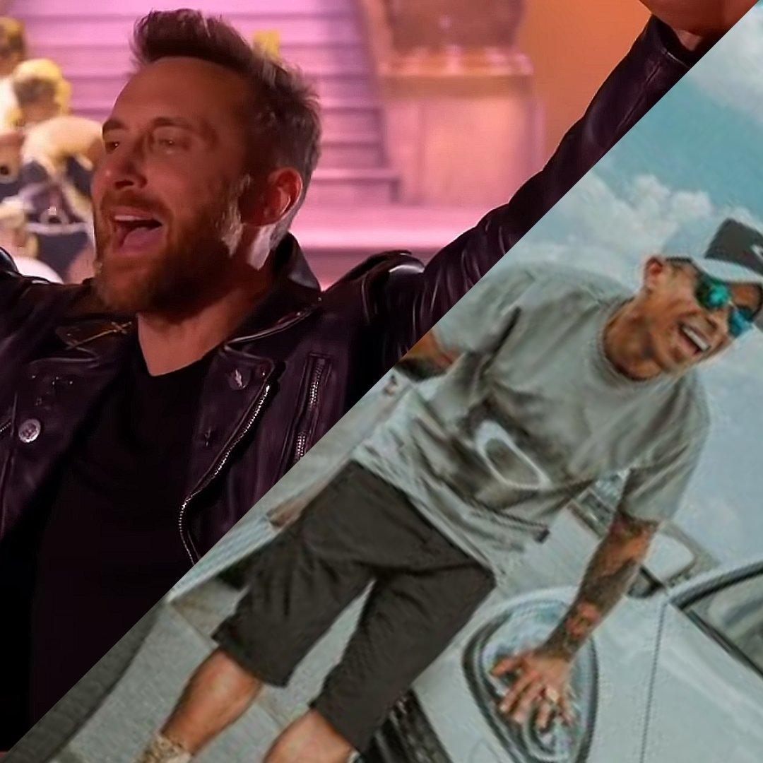 Fotos do DJ David Guetta e do MC Neguinho do Caxeta