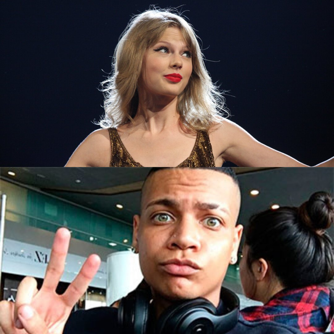 Fotos da cantora Taylor Swift e do MC de funk Duduzinho