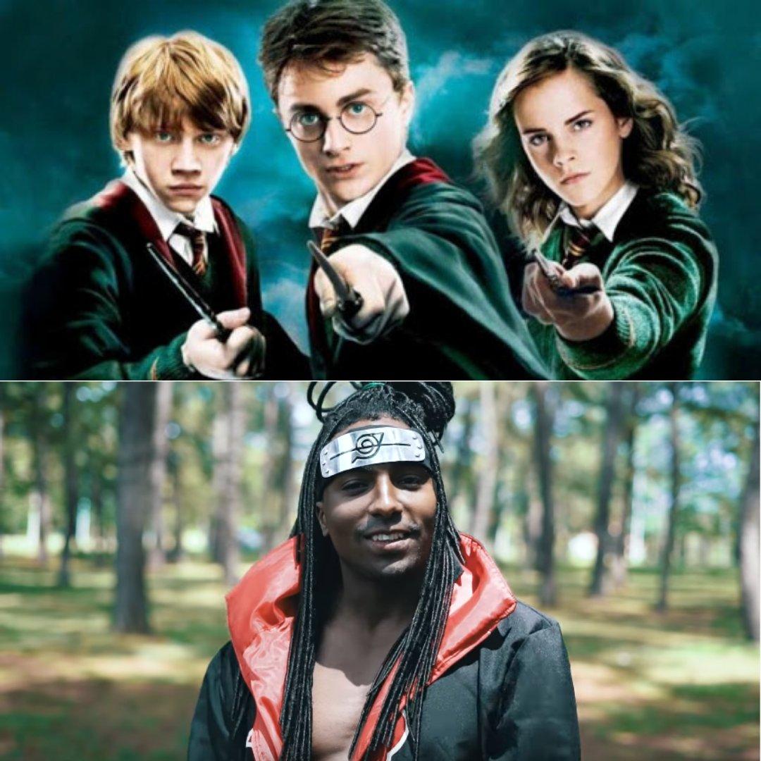 Foto de divulgação de Harry Potter e imagem de um dos clipes do MC Maha