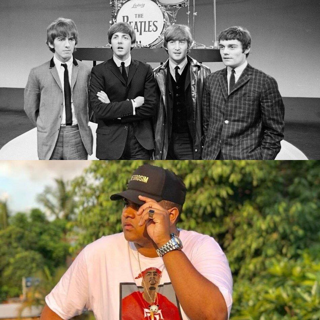 Fotos da banda The Beatles e do MC Kevin o Chris