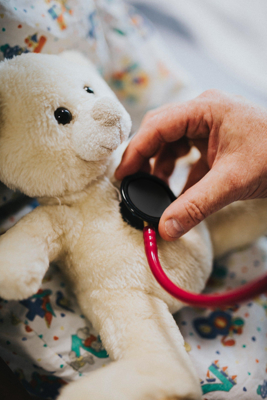 Pessoa colocando estetoscópio no peito de ursinho de pelúcia