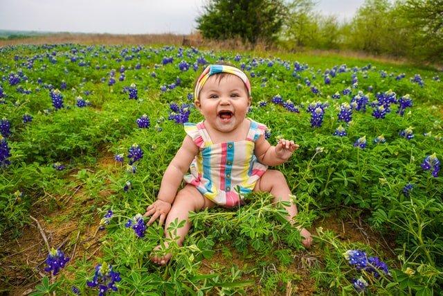 Bebê sentada em campo com flores roxas sorrindo