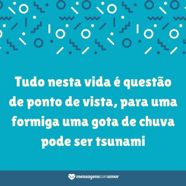 'Tudo nesta vida é questão de ponto de vista, para uma formiga uma gota de chuva pode ser tsunami' - Mensagens de positivismo para WhatsApp
