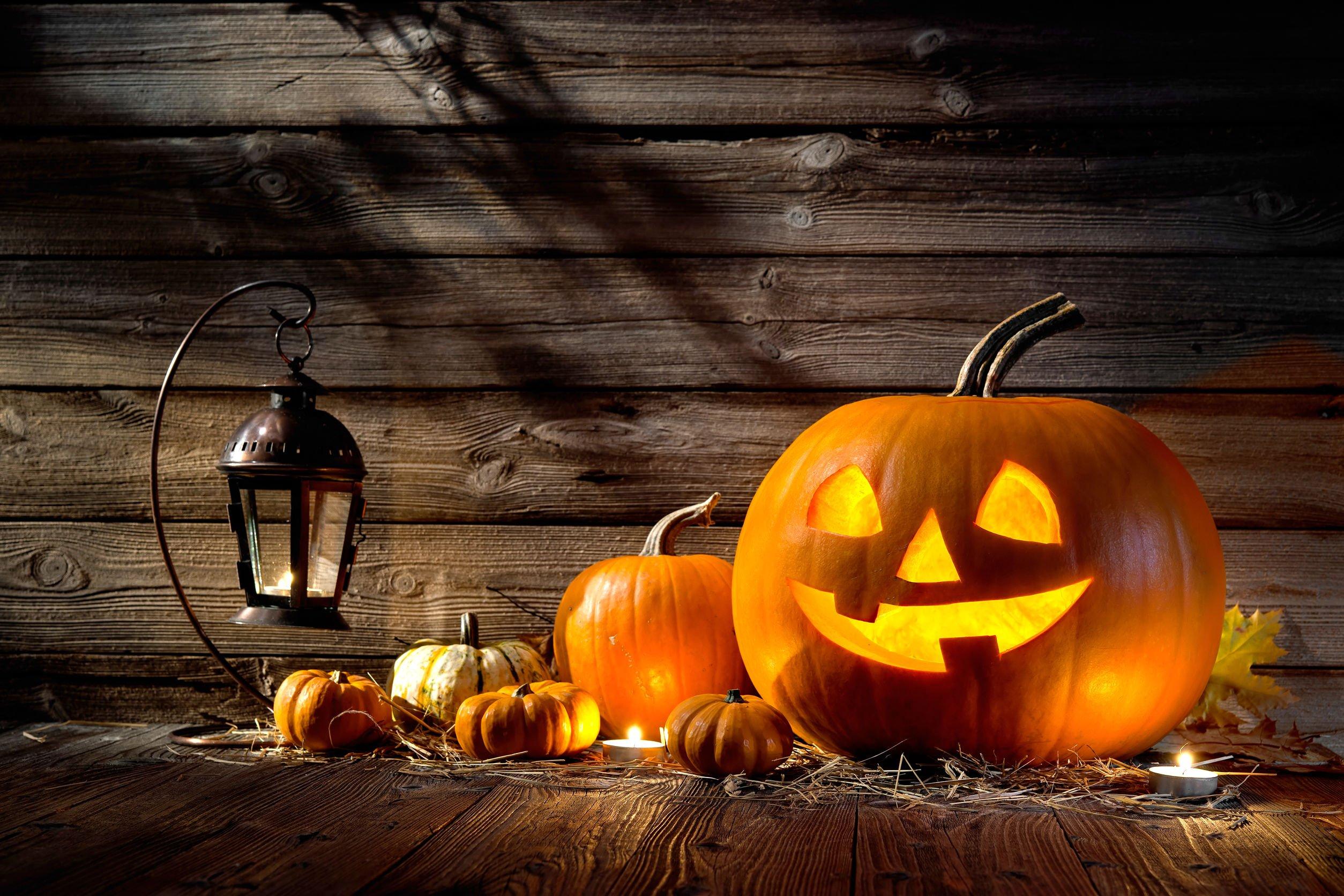 Abóboras de halloween com rosto