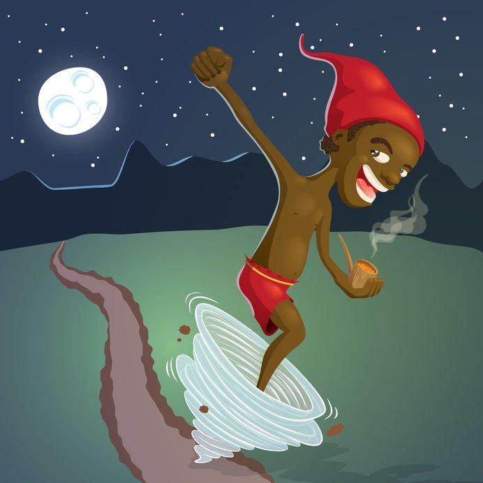 Ilustração do Saci sorrindo com o braço levantado e segurando o cachimbo