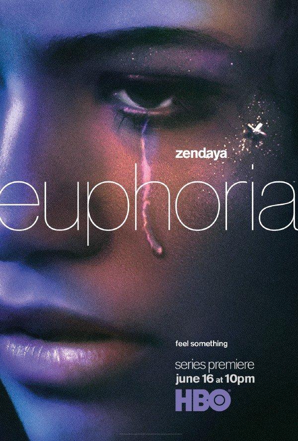 Pôster de divulgação de Euphoria, com a atriz principal chorando.