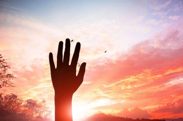 Uma mão ao alto, com um pôr do Sol de fundo com pássaros voando.