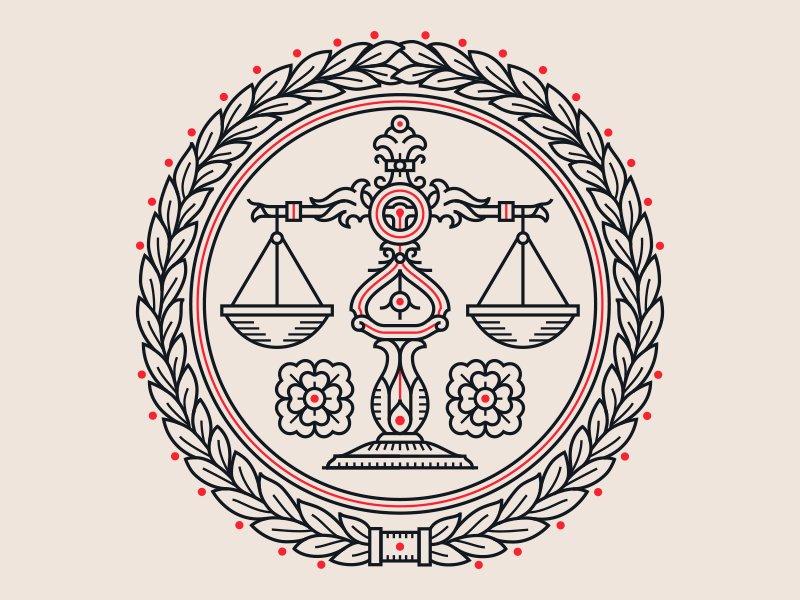 Ilustração de uma balança, símbolo da justiça.