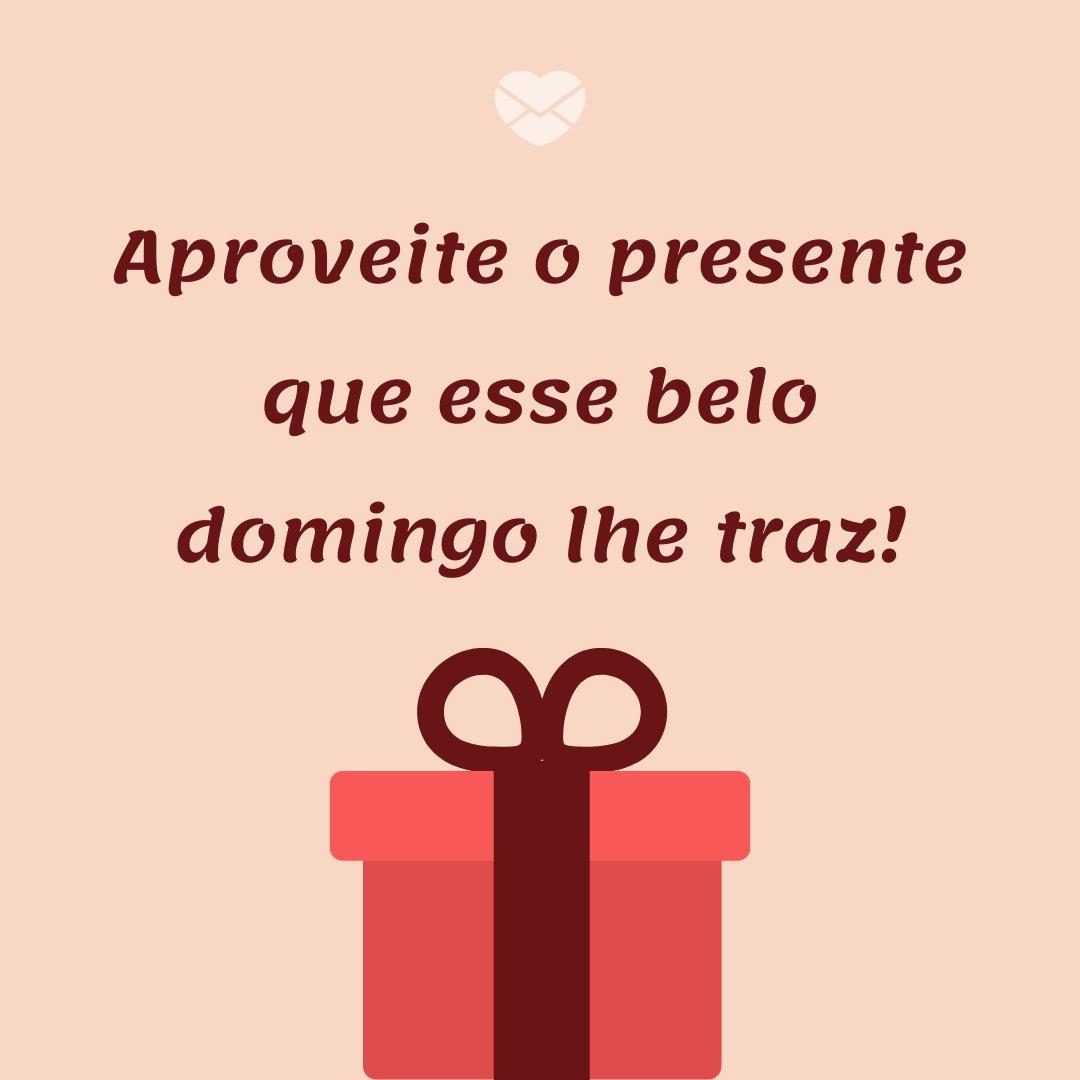 'Aproveite o presente que esse belo domingo lhe traz!' - Tenha um Lindo Domingo