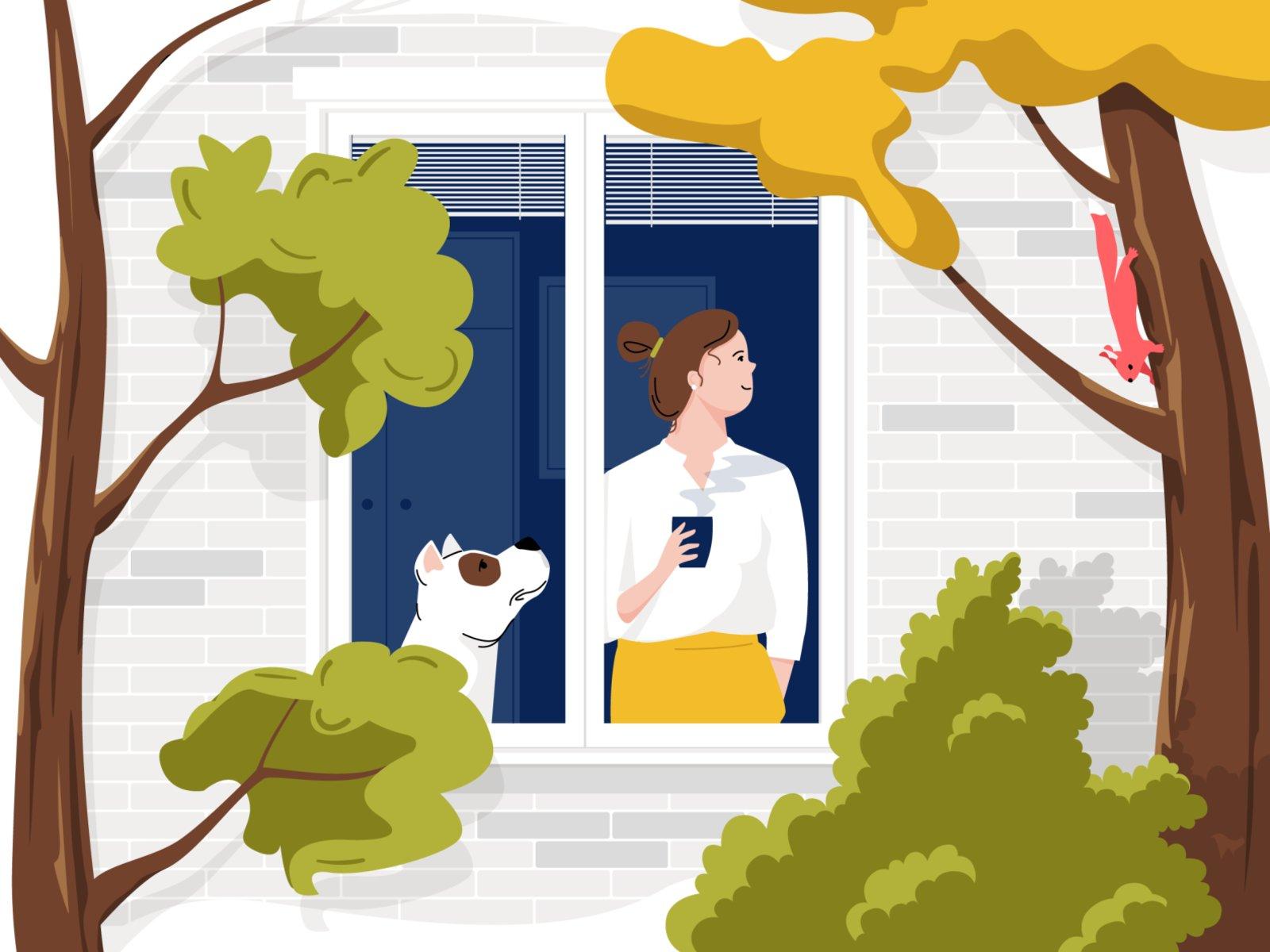 Ilustração de uma mulher olhando pela janela, ao lado de seu cachorro, em pé, enquanto toma uma xícara de chá.