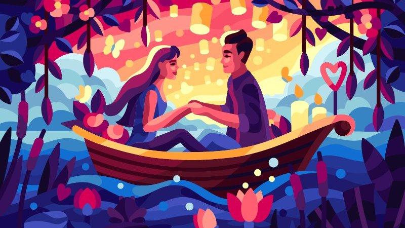 Ilustração de casal em barco com árvores e luzes flutuantes ao fundo