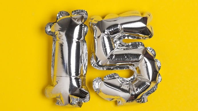 Balões numéricos em forma de 15