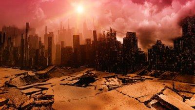 Chão se rompendo em cidade durante apocalipse