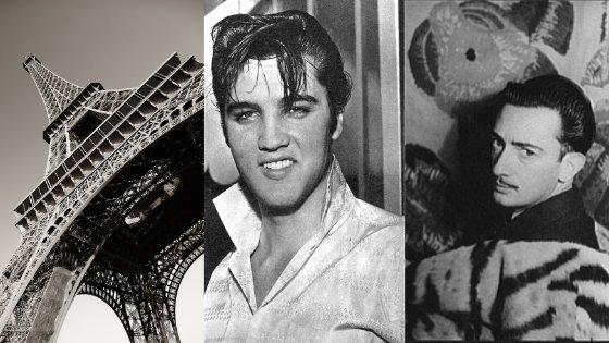 Imagens da Torre Eifeel, Elvis Presley e  do Salvador Dali