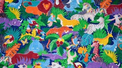 Ilustração gráfica de animais de origami caminhando sobre o globo terrestre em meio à floresta, também feita de origami