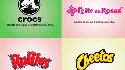 Montagem com logomarcas do Crocs, Leite de Rosas, Ruffles e Cheetos