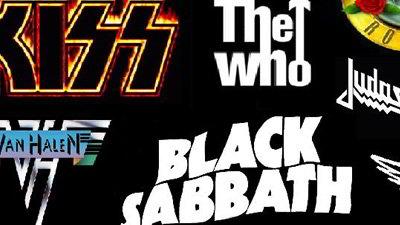 Logos das bandas Kiss, The Who e Black Sabbath.