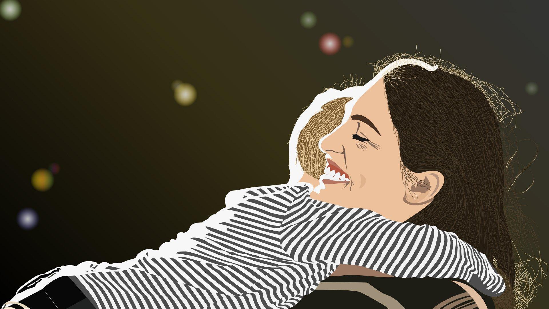 Desenho de mãe e filho abraçados