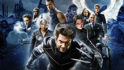 Personagens do X-Men em pôsteres de divulgação.