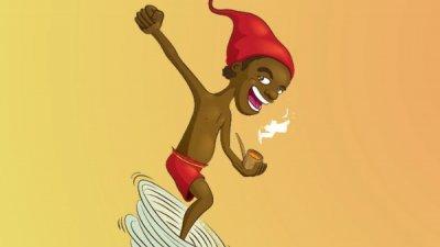 Ilustração do Saci Pererê saindo de um furação com um cachimbo na boca.