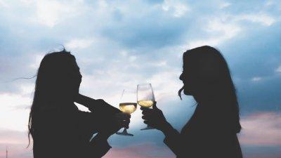 Namoradas brindando com taças de champanhe