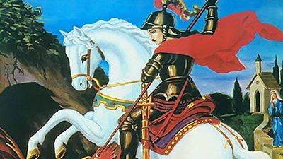Gravura de São Jorge em cavalo branco