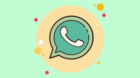 Ilustração de logo do WhatsApp com detalhes coloridos em volta