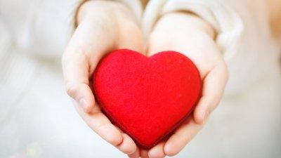 Pessoa segurando um coração entre as mãos