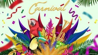 Ilustração com penas, confetes, aves e cores para o carnaval.