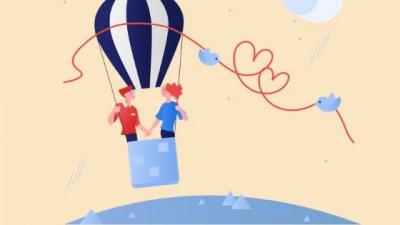 Ilustração de casal em balão com passarinhos ao redor